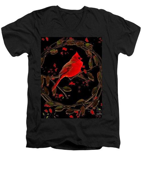 Cardinal On Metal Wreath Men's V-Neck T-Shirt by Janette Boyd