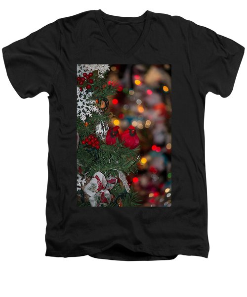Men's V-Neck T-Shirt featuring the photograph Cardinals At Christmas by Patricia Babbitt
