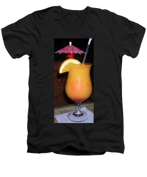 Men's V-Neck T-Shirt featuring the photograph Caribbean Fuzzy Peach Naval by Emmy Marie Vickers