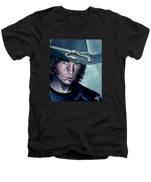 Carl Grimes Men's V-Neck T-Shirt by Tom Carlton