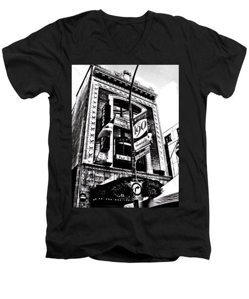Men's V-Neck T-Shirt featuring the photograph Carlos And Pepe's Montreal Mexican Bar Bw by Shawn Dall