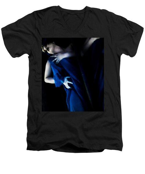 Carnal Blue Men's V-Neck T-Shirt by Jessica Shelton