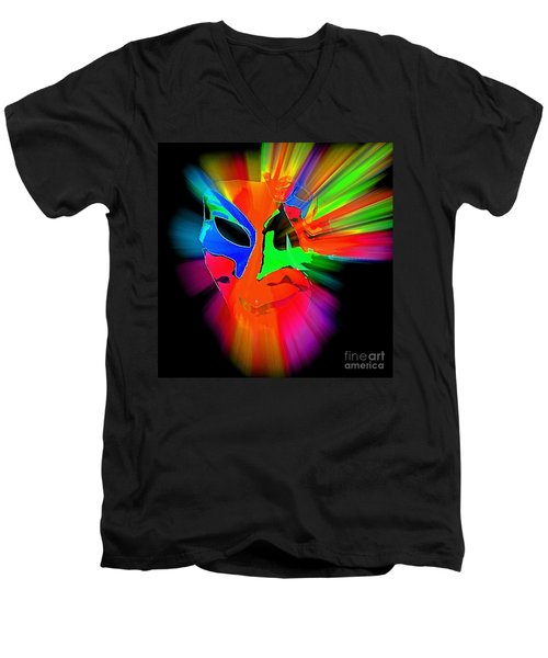 Carnival Mask In Abstract Men's V-Neck T-Shirt