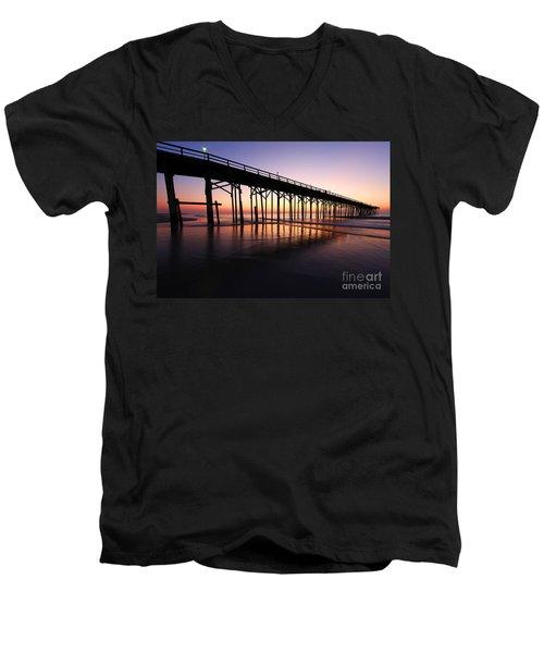 North Carolina Beach Pier - Sunrise Men's V-Neck T-Shirt