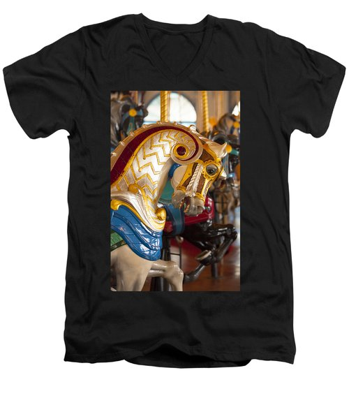 Colorful Carousel Merry-go-round Horse Men's V-Neck T-Shirt