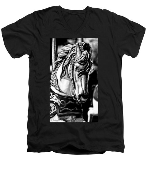 Carousel Horse Two - Bw Men's V-Neck T-Shirt