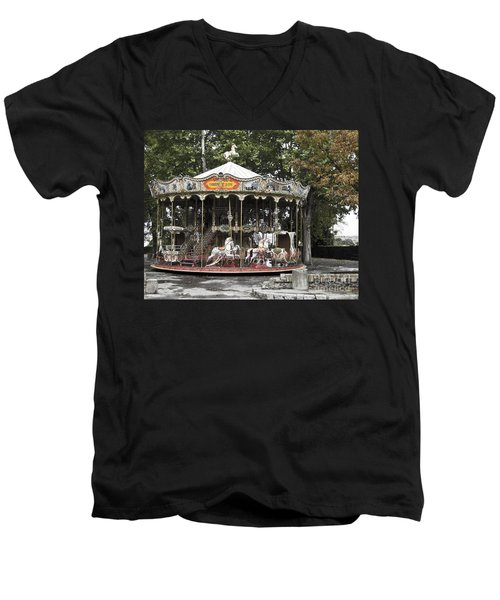 Men's V-Neck T-Shirt featuring the photograph Carousel by Victoria Harrington