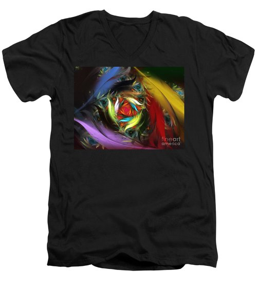 Carribean Nights-abstract Fractal Art Men's V-Neck T-Shirt