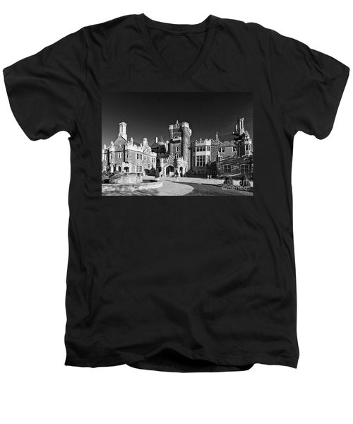 Casa Loma In Toronto In Black And White Men's V-Neck T-Shirt