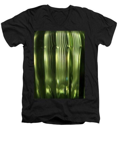 Cascading Green Men's V-Neck T-Shirt by Leena Pekkalainen