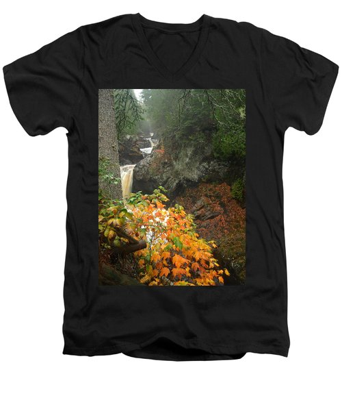 Men's V-Neck T-Shirt featuring the photograph Cascading Steps by James Peterson