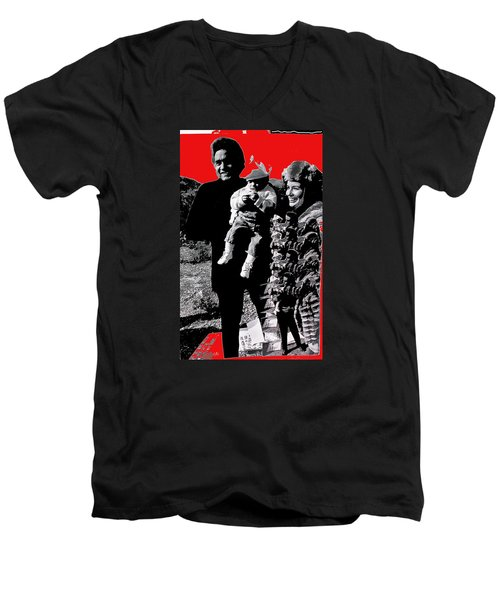 Men's V-Neck T-Shirt featuring the photograph Cash Family In Red Old Tucson Arizona 1971-2008 by David Lee Guss