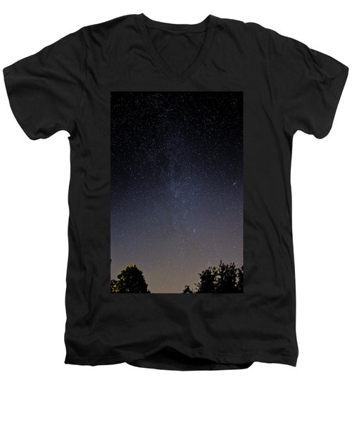 Men's V-Neck T-Shirt featuring the photograph Cassiopeia And Andromeda Galaxy 01 by Greg Reed