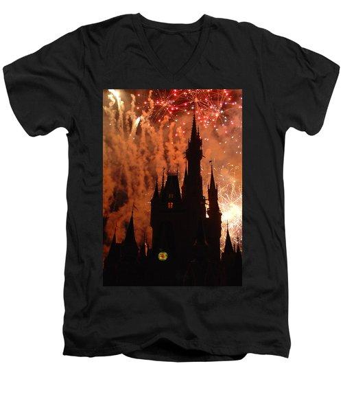 Men's V-Neck T-Shirt featuring the photograph Castle Fire Show by David Nicholls