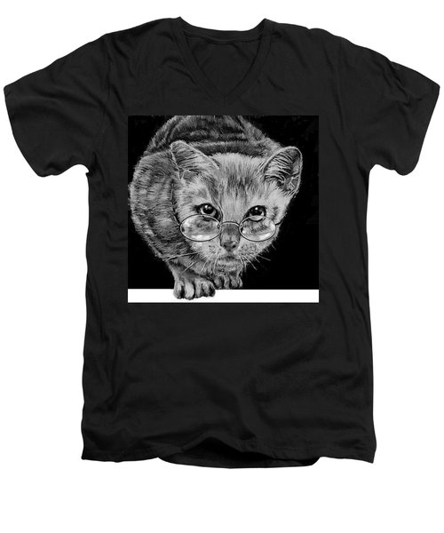 Cat In Glasses  Men's V-Neck T-Shirt by Jean Cormier