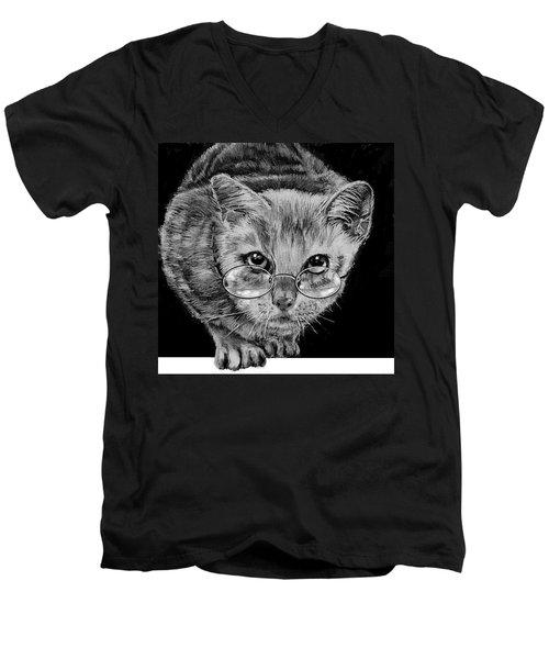 Cat In Glasses  Men's V-Neck T-Shirt
