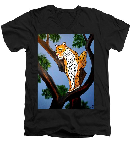 Men's V-Neck T-Shirt featuring the painting Cat On A Hot Wood Tree by Nora Shepley