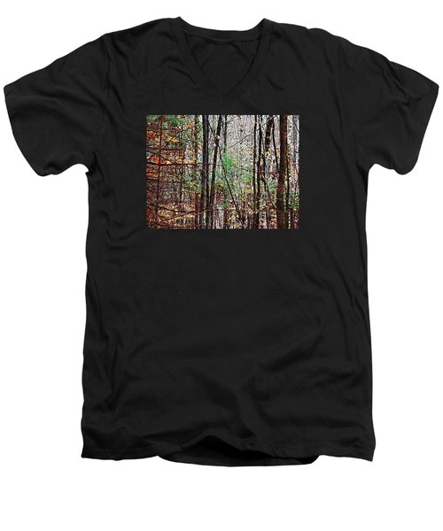 Cathedral In The Woods Men's V-Neck T-Shirt by Joy Nichols
