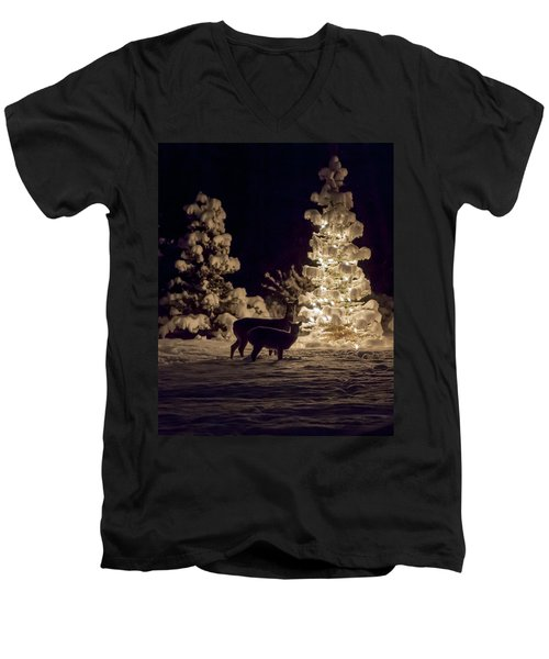 Men's V-Neck T-Shirt featuring the photograph Cautious by Aaron Aldrich