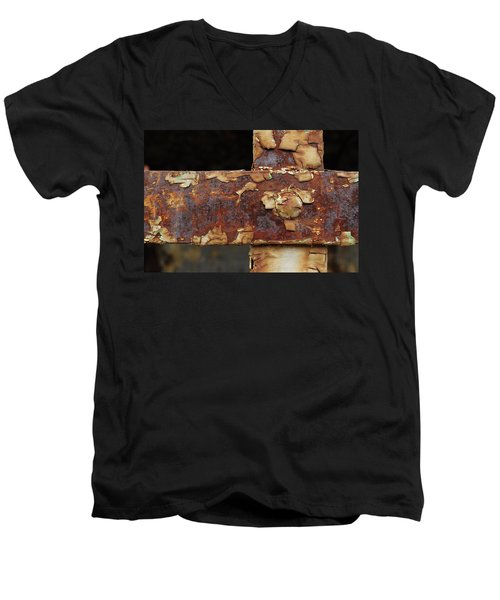 Men's V-Neck T-Shirt featuring the photograph Cell Strapping by Fran Riley