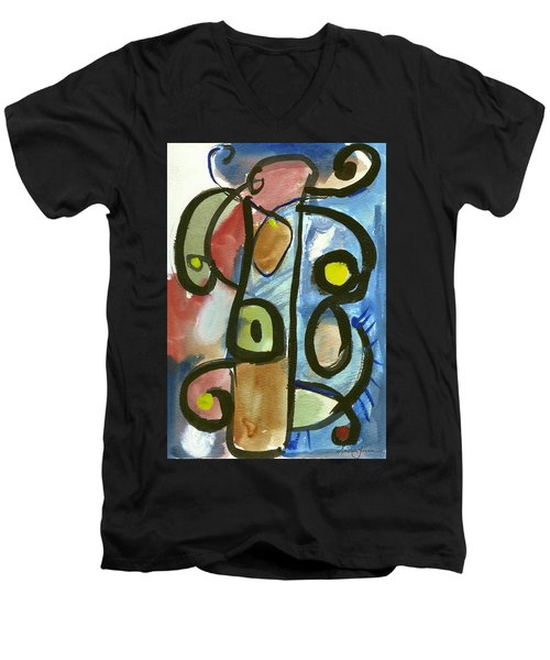 Men's V-Neck T-Shirt featuring the painting Cello In Blue by Stephen Lucas