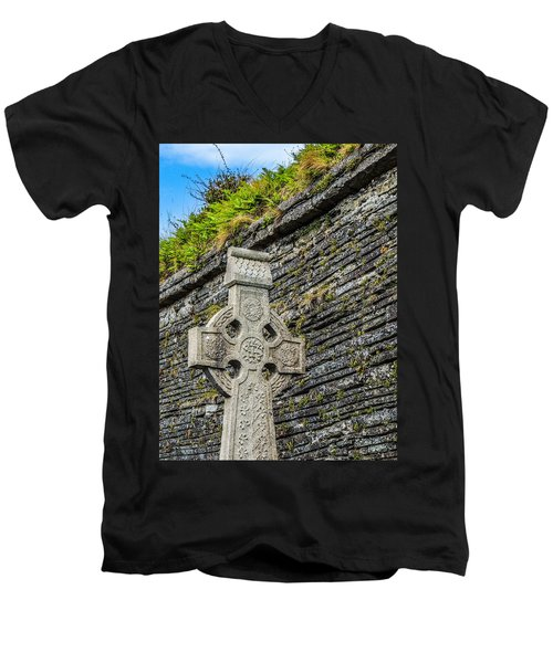 Celtic Cross At Kilmurry-ibrickan Church Men's V-Neck T-Shirt