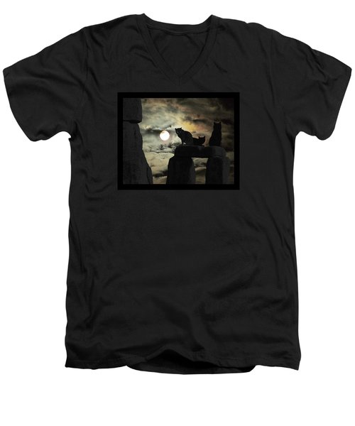 Men's V-Neck T-Shirt featuring the photograph Celtic Nights Selective Coloring by I'ina Van Lawick