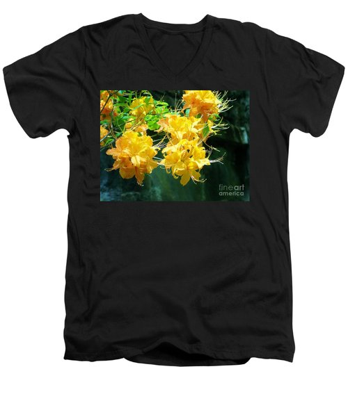 Centered Yellow Floral Men's V-Neck T-Shirt
