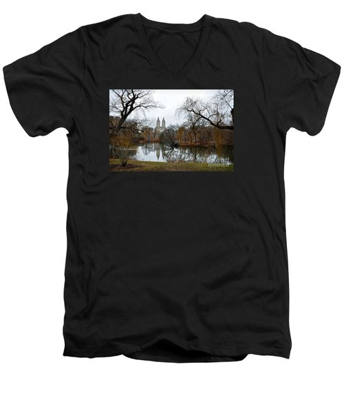 Central Park And San Remo Building In The Background Men's V-Neck T-Shirt by RicardMN Photography