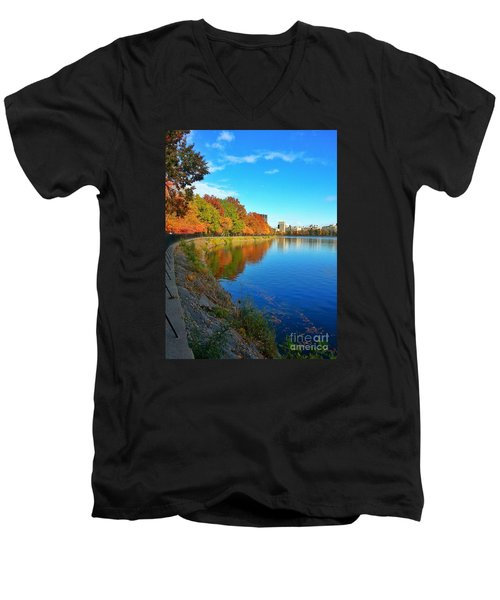Central Park Autumn Landscape Men's V-Neck T-Shirt
