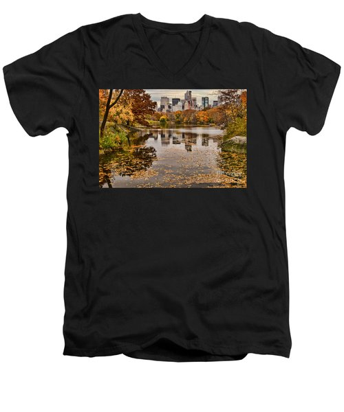 Central Park In The Fall New York City Men's V-Neck T-Shirt by Sabine Jacobs