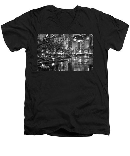 Central Park Lake Night Men's V-Neck T-Shirt