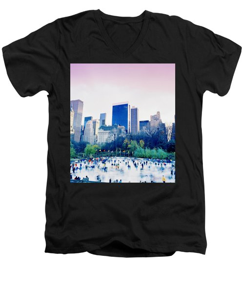 New York In Motion Men's V-Neck T-Shirt by Shaun Higson