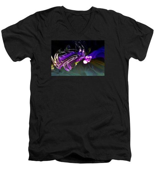 Men's V-Neck T-Shirt featuring the digital art Cerebral Backlash by Richard Thomas