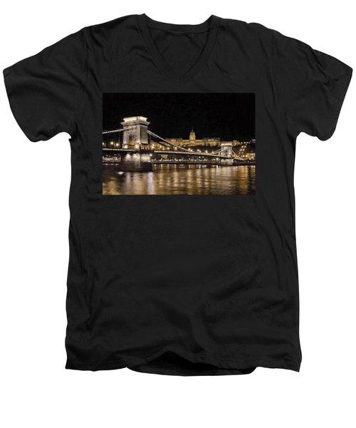 Chain Bridge And Buda Castle Winter Night Painterly Men's V-Neck T-Shirt