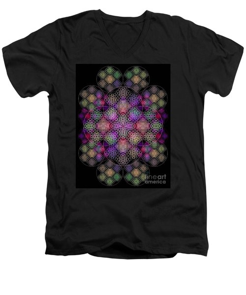 Men's V-Neck T-Shirt featuring the digital art Chalice Cell Rings On Black Dk29 by Christopher Pringer