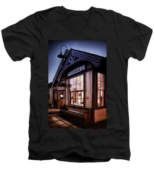 Men's V-Neck T-Shirt featuring the photograph Chama Train Station by Priscilla Burgers
