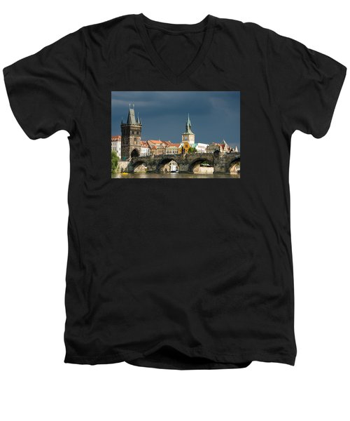 Charles Bridge Prague Men's V-Neck T-Shirt by Matthias Hauser