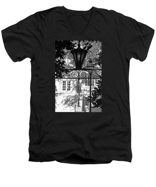 Charleston Gateway II In Black And White Men's V-Neck T-Shirt