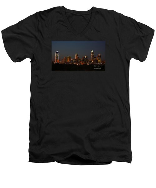 Charlotte City Skyline At Sunset Men's V-Neck T-Shirt