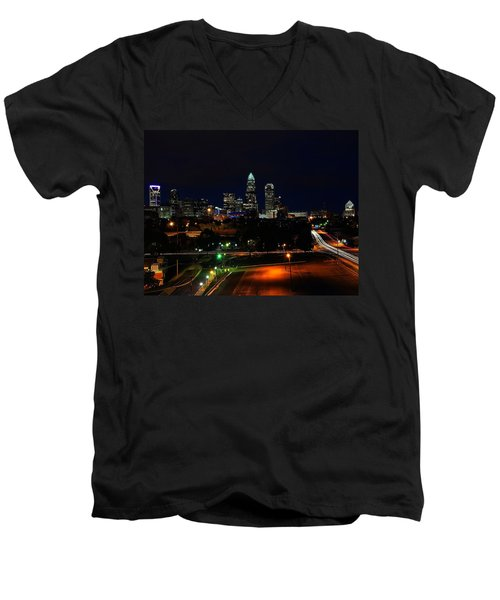 Charlotte Nc At Night Men's V-Neck T-Shirt