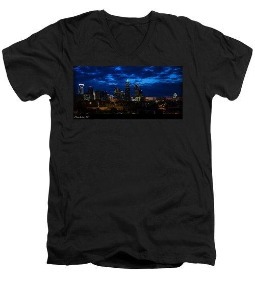 Charlotte North Carolina Panoramic Image Men's V-Neck T-Shirt