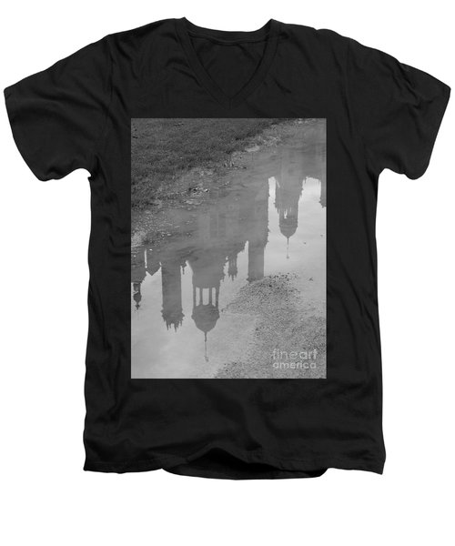 Chateau Chambord Reflection Men's V-Neck T-Shirt by HEVi FineArt