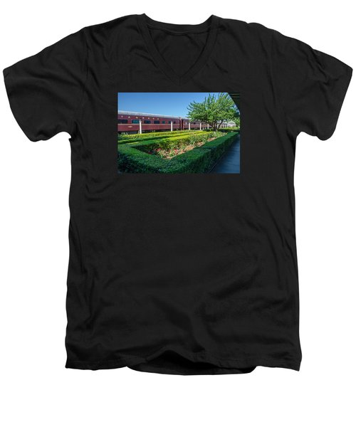 Men's V-Neck T-Shirt featuring the photograph Chattanooga Choo Choo 2 by Susan  McMenamin