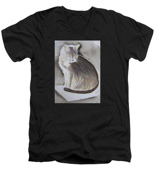 Cheeky Cat  Men's V-Neck T-Shirt by Elvira Ingram