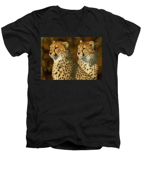 Cheetah Brothers Men's V-Neck T-Shirt by David Stribbling