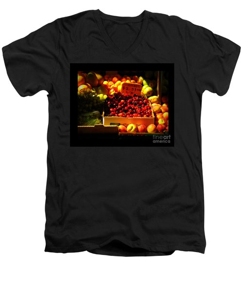 Men's V-Neck T-Shirt featuring the photograph Cherries 299 A Pound by Miriam Danar