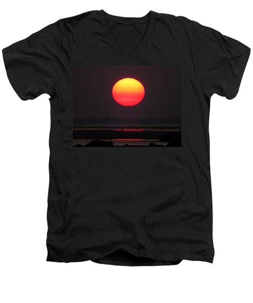 Men's V-Neck T-Shirt featuring the photograph Cherry Drop Sunrise by Dianne Cowen