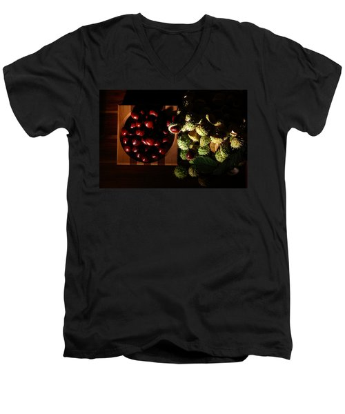 Men's V-Neck T-Shirt featuring the photograph Chestnuts by David Andersen