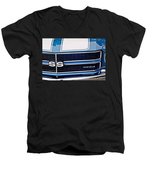 Chevrolet Chevelle Ss Grille Emblem 2 Men's V-Neck T-Shirt by Jill Reger